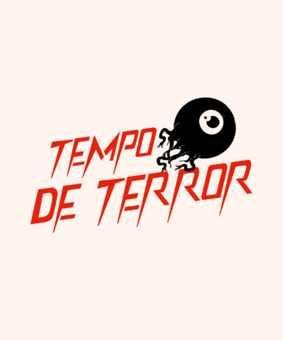 T-Shirt Design Template with a Horror Typeface and an Eyeball Graphic 4077a