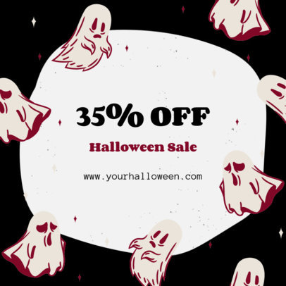 Instagram Post Generator for a Halloween Sale Featuring Ghost Illustrations 4080a