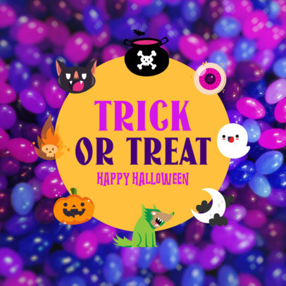 Instagram Post Template Featuring Cute Graphics and a Halloween Theme 4081d