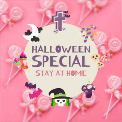 Instagram Post Template Featuring Candy Graphics and Halloween Characters 4081h