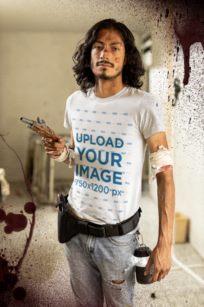 T-Shirt Mockup of a Long-Haired Man in a Zombie Attack Survivor Costume M15771