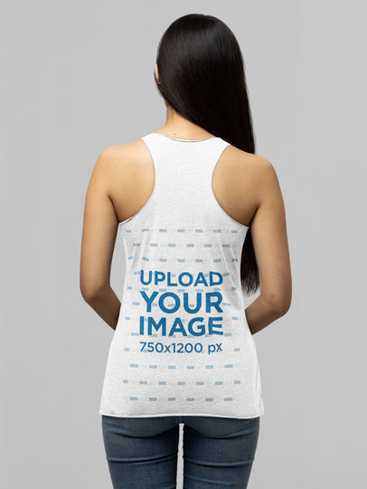 Back View Mockup of a Long-Haired Woman Wearing a Bella Canvas Tank Top m14305