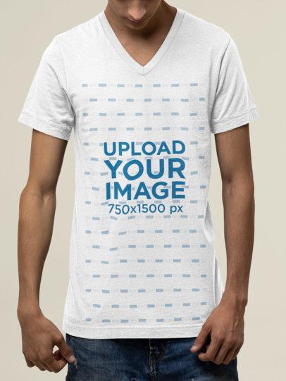 Mockup of a Slim Young Man Wearing a V-Neck Bella Canvas T-Shirt M13901
