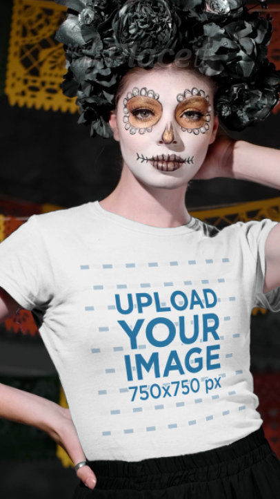 T-Shirt Video Featuring a Young Woman Wearing a Catrina Makeup 4102v