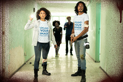 T-Shirt Mockup of Two Survivors Surrounded by Zombies in a Hallway m15763