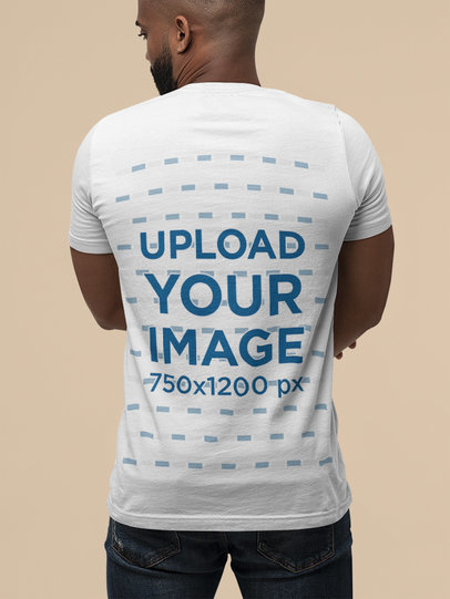 Back-View Mockup of a Bearded Man Wearing a Bella Canvas Basic Tee M13947