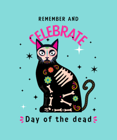T-Shirt Design Generator to Celebrate the Day of the Dead Featuring a Cat Illustration 4105f