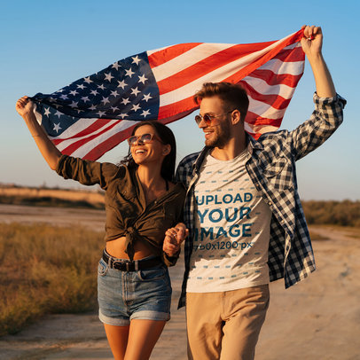 T-Shirt Mockup Featuring a Man and His Girlfriend Holding the USA Flag 45790-r-el2