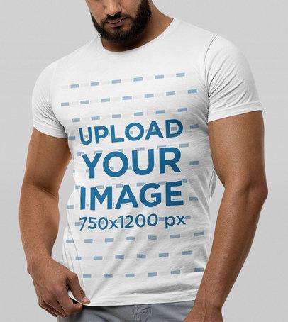 Bella Canvas T-Shirt Mockup Featuring a Bearded Man Against a Plain Backdrop m13949