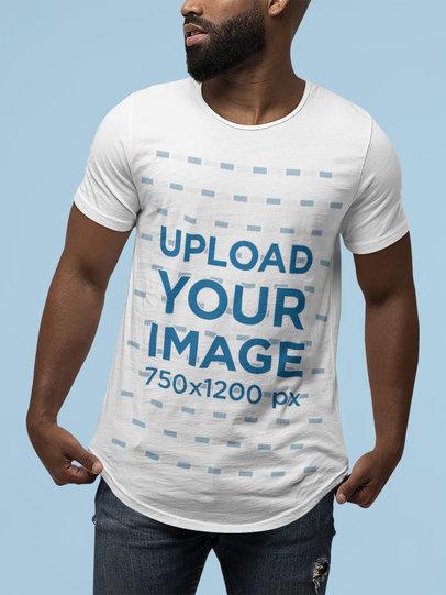 Mockup of a Big Bearded Man Wearing a Bella Canvas T-Shirt M13931