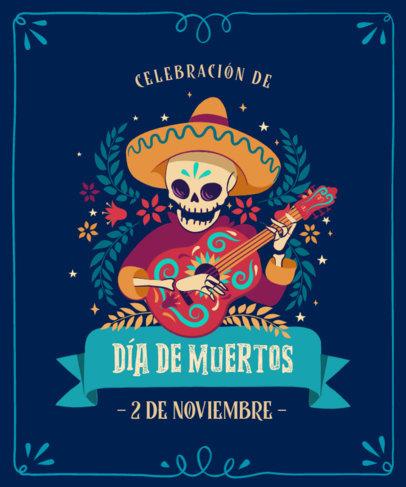 Dia de Muertos-Themed T-Shirt Design Creator Featuring an Illustrated Skeleton Guitarist 4102a