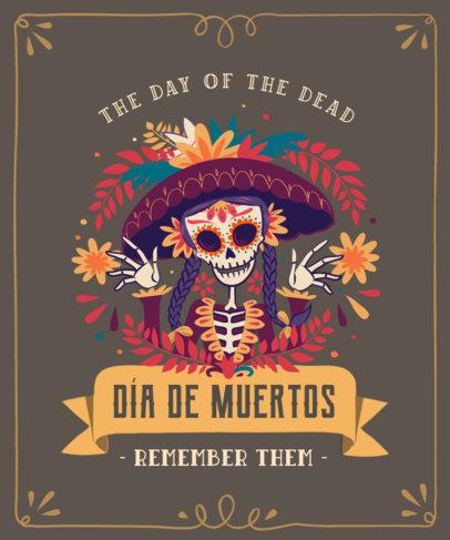 T-Shirt Design Maker Featuring a Mexican Catrina for Dia de Muertos 4102d