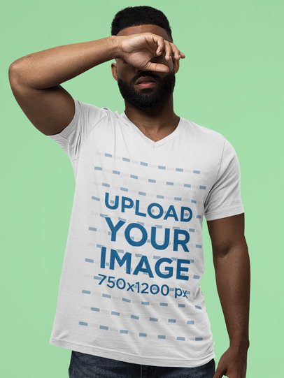 T-Shirt of a Serious Bearded Man Wearing a Bella Canvas V-Neck Tee m13937