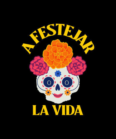 T-Shirt Design Generator for Day of the Dead with a Colorful Catrina Illustration 4104h