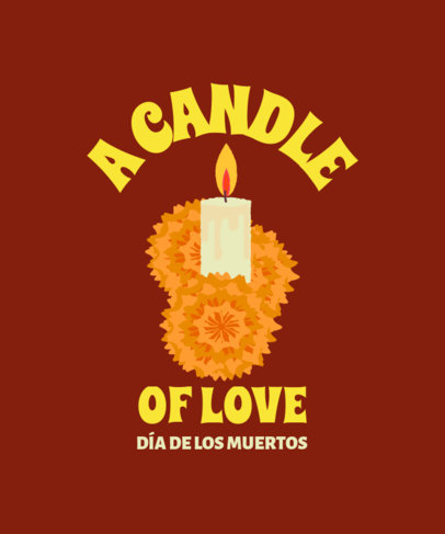 T-Shirt Design Template with Illustrated Cempasuchil Flowers for Dia de Muertos 4104e