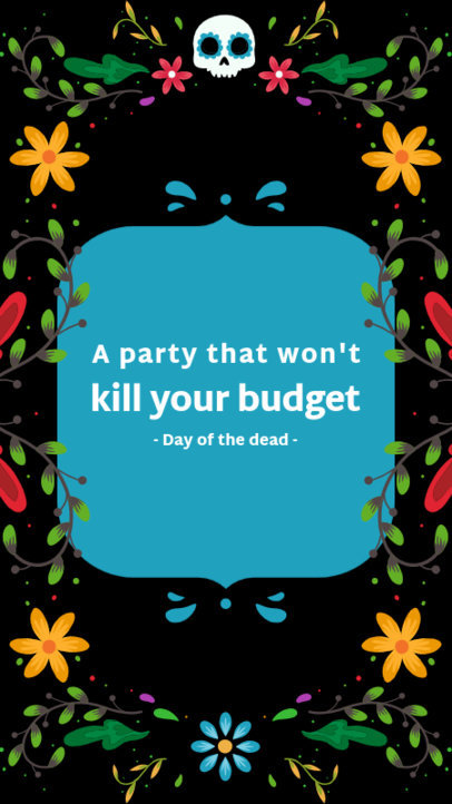 Dia de Muertos-Themed Facebook Story Template with a Frame and a Quote 4107g
