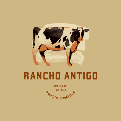 Cow-Themed Logo Template for an Organic Products Retailer 4683e