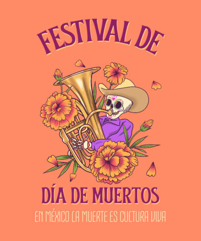 Dia de Muertos-Themed T-Shirt Design Maker With Mexican-Inspired Illustrations 4103d