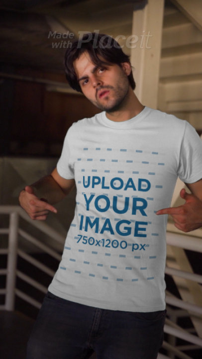 Apparel Video of a Bearded Man Pointing at His T-Shirt 3698v