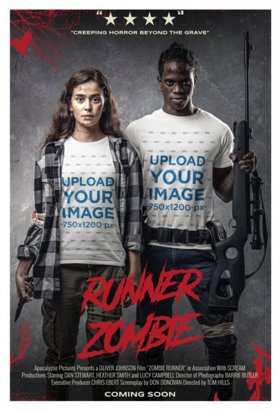 T-Shirt Mockup of a Man and a Woman in a Zombie Movie Poster m15868