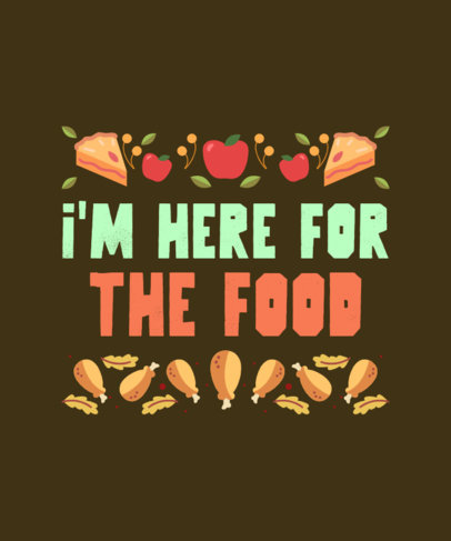 T-Shirt Design Template with Illustrated Thanksgiving Food Graphics 4124a