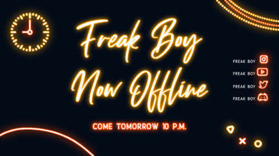 Laser-Themed Twitch Offline Banner Template with Glowing Graphics 4469d-el1