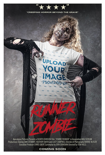 T-Shirt Mockup Featuring a Poster-Style Layout and a Zombie Woman m15882