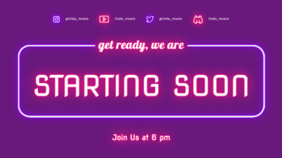 Starting Soon Screen Generator With a Neon Lights Aesthetic 4465d-el1