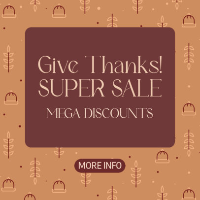 Ad Banner Design Template to Promote a Thanksgiving Offer 4128c