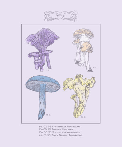 T-Shirt Design Maker Featuring a Vintage Mushroom Print Style 4119d