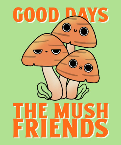 Mushroom-Themed T-Shirt Design Template for a Group of Friends 4122e