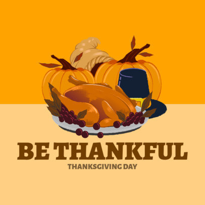 Instagram Post Creator Featuring a Thanksgiving Dinner Illustration 4126c