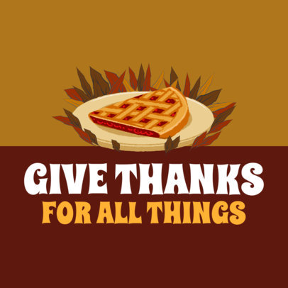Instagram Post Template for Thanksgiving with a Pumpkin Pie Graphic 4126e
