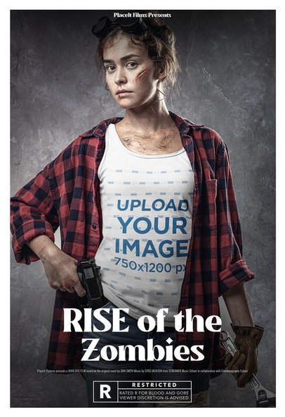 Tank Top Mockup Featuring a Woman in a Zombie Movie Poster Style m15858