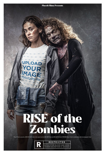 T-Shirt Mockup of a Young Woman and Her Zombie Friend m15888