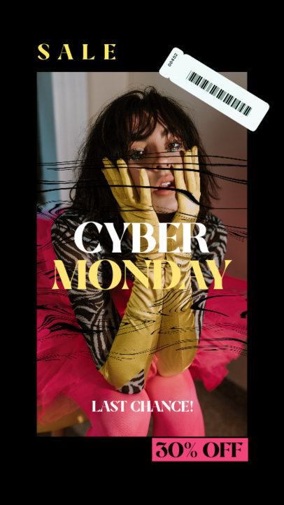 Fashionable Instagram Story Template for a Cyber Monday Promo Ad 4145d