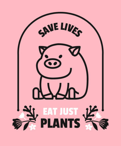 T-Shirt Design Template Featuring a Go-Vegan Message and a Cute Pig Graphic 4487b-el1