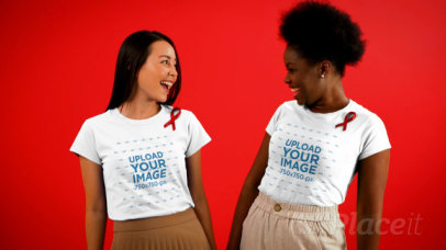 AIDS Awareness-Themed Video Featuring Two Female Friend Wearing T-Shirts 4156v