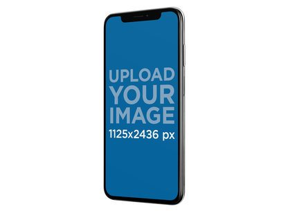 iPhone X Mockup Floating Angled Against a Solid Background a17233