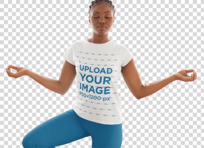Transparent T-Shirt Mockup Featuring a Woman Doing the Tree Pose 31093