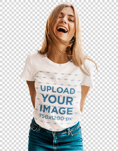 Transparent Basic Tee Mockup Featuring a Young Woman Laughing m1378-r-el2