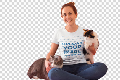 Transparent Happy Cat Lady Wearing a T-Shirt Mockup Sitting on her Sofa a18981