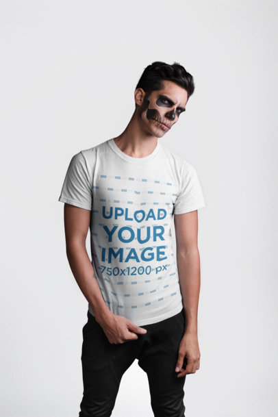 Transparent Round Neck Tee Mockup of a Man with Skull Makeup for Halloween 22939