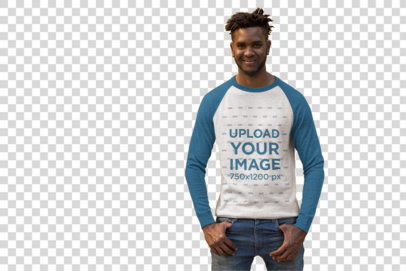 Transparent Mockup of a Trendy Man Wearing a Raglan Tee in Front of a Bright Wall 24113