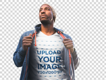 Transparent T-Shirt Mockup of a Black Man Wearing a Winter Outfit a8979