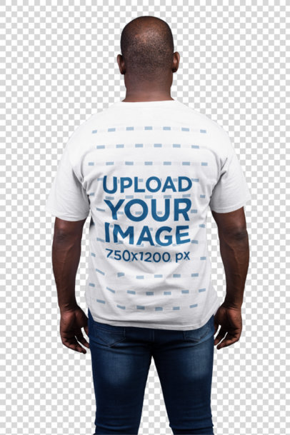 Transparent Back Shot T-Shirt Mockup Featuring a Man with Blue Jeans 21483