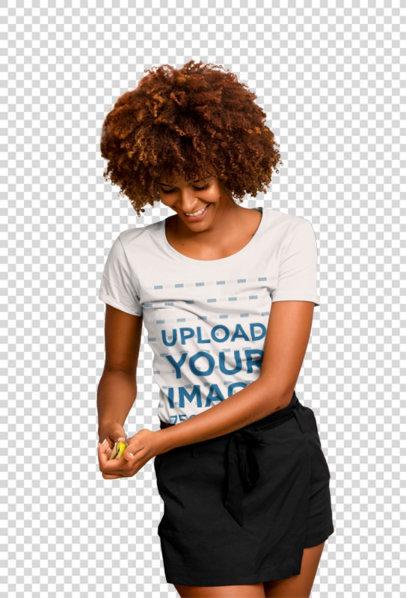 Transparent T-Shirt Mockup of a Woman Chopping Fruit 45391-r-el2