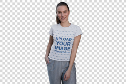 Transparent Tee Mockup Featuring a Smiling Girl Posing by Facade Panels 26273