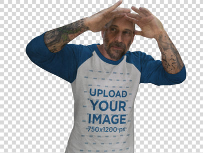 Transparent Man Wearing a Raglan Tee While Looking Out a Window Mockup a12609a