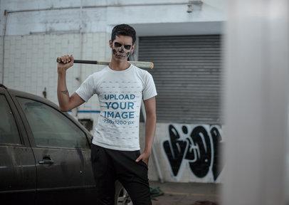 Transparent Mockup of a Man With a Bat Wearing a T-shirt 23020